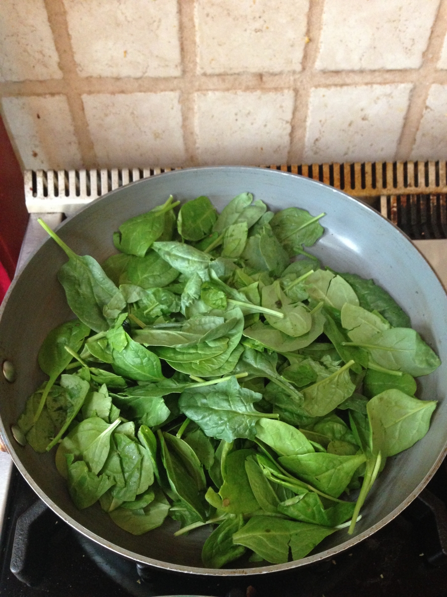 Sauteed fresh baby spinach with garlic